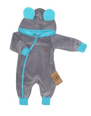 Velúrový dojčenský overal s kapucňou a uškami - tyrkysovo, šedý, veľ 56