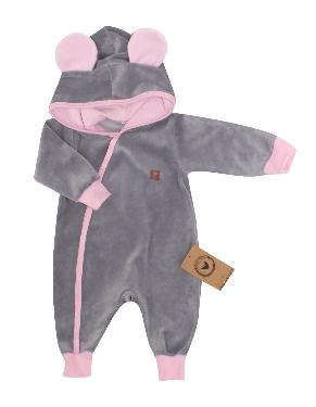Velúrový dojčenský overal s kapucňou a uškami - šedo,ružový, veľ 56