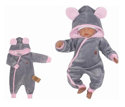 Z&Z Velúrový dojčenský overal s kapucňou a uškami - šedo,růžový
