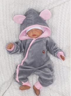 Velúrový dojčenský overal s kapucňou a uškami - šedo,ružový, veľ. 68