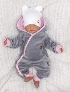 Velúrový dojčenský overal s kapucňou a uškami - šedo,ružový, veľ. 74