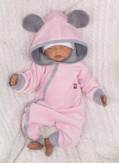 Velúrový dojčenský overal s kapucňou a uškami - ružovo,šedý, veľ 56