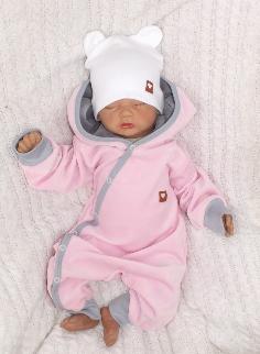 Velúrový dojčenský overal s kapucňou a uškami - ružovo,šedý, veľ. 74