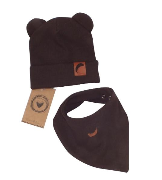 Z & Z Dvojvrstvová rebrovaná čiapočka s uškami + šatka, čokoládová-#Velikost koj. oblečení;56-62 (0-3m)