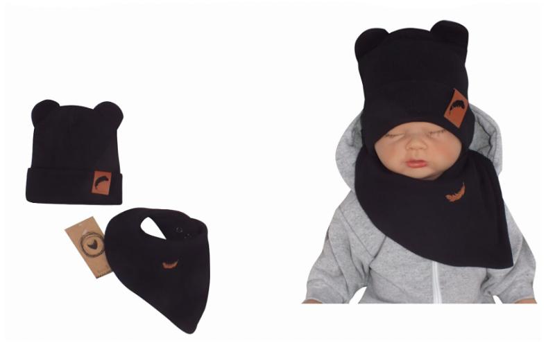 Z & Z Dvojvrstvová rebrovaná čiapočka s uškami + šatka, čierna