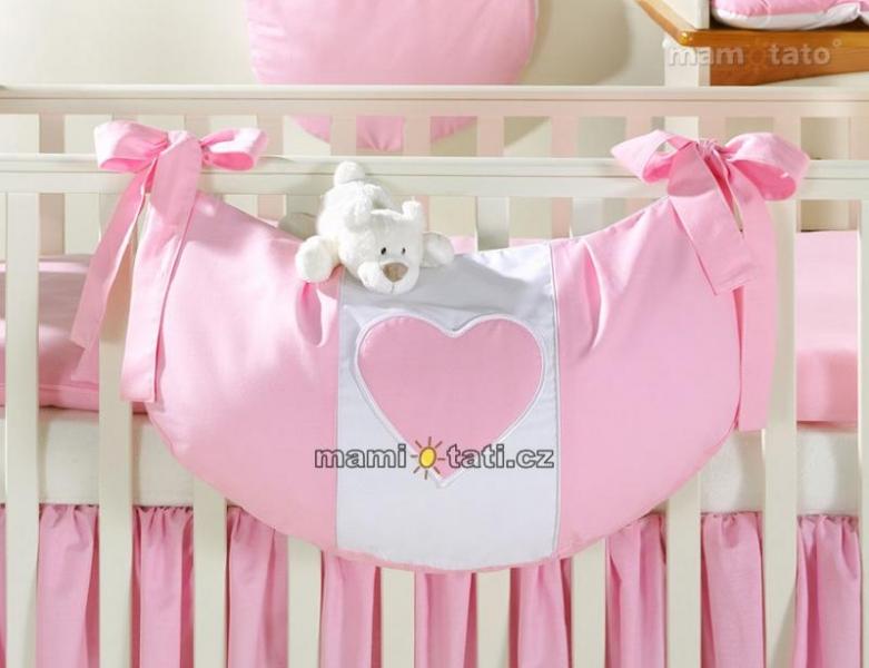 Luxusné vreckár na hračky - Ružový s ružovým srdiečkom
