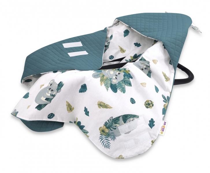 Baby Nellys Oteplena zavinov. deka s kapucňou Velvet, 90x90cm,Tropical Koala - zelená,biel