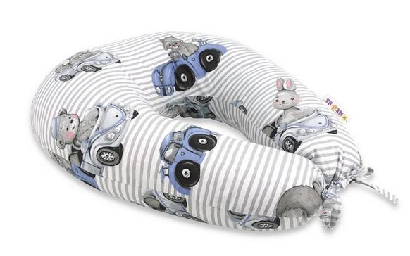 Bavlnený dojčiacy vankúš Baby Nellys, Baby Car - modrá
