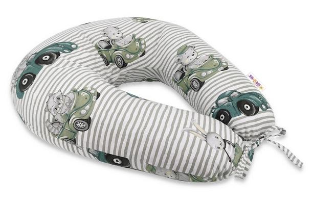 Bavlnený dojčiacy vankúš Baby Nellys, Baby Car - zelená