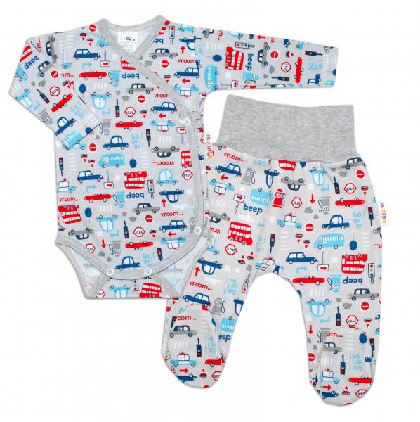 Baby Nellys 2-dielna sada, body dl.rukáv zap. bokom + polodupačky Auta, sivá-#Velikost koj. oblečení;50 (0-1m)