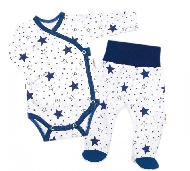 Baby Nellys 2-dielna sada, body dl.rukáv zap. bokom + polodupačky Galaxie, bílá/granát-#Velikost koj. oblečení;50 (0-1m)