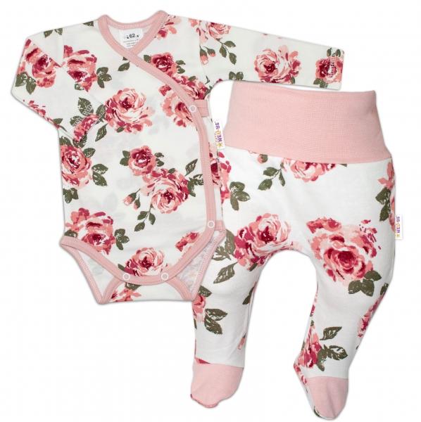 Baby Nellys 2-dielna sada, body dl.rukáv zap. bokom + polodupačky Ruže, pudrová/ecru-#Velikost koj. oblečení;50 (0-1m)