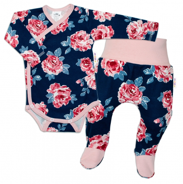 Baby Nellys 2-dielna sada, body dl.rukáv + polodupačky Ruže, pudrová/granát, vel. 62-#Velikost koj. oblečení;62 (2-3m)