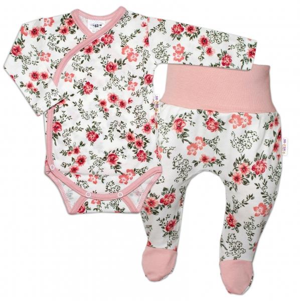 Baby Nellys 2-dielna sada, body dl.rukáv + polodupačky Kvetinka, pudrová/ecru-#Velikost koj. oblečení;50 (0-1m)
