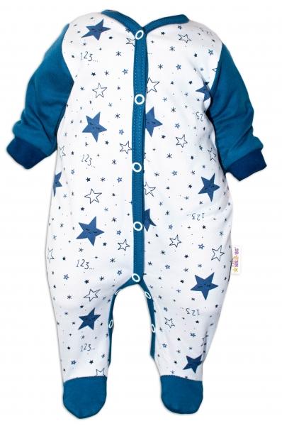 Baby Nellys Overal Galaxie, zapínanie uprostred, biela/granát, veľ. 56