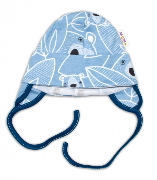 Baby Bavlnená čiapočka s uškami na zaväzovanie - Medvedík, modrá