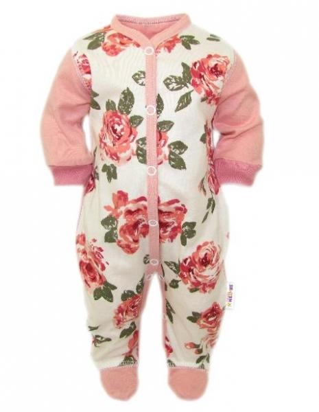 Baby Nellys Overal Ruže, zapínanie uprostred, pudrová/ecru, veľ. 50