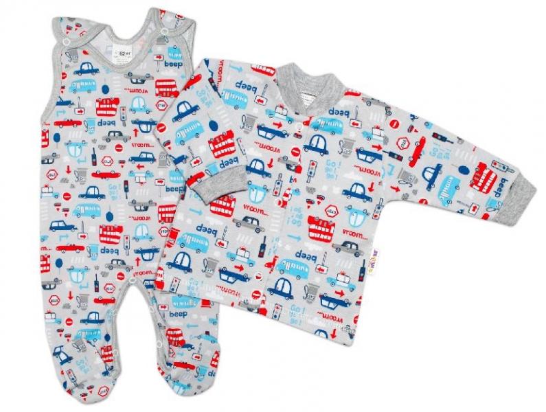 Baby Nellys 2 - dielna sada, bavlnené dupačky s košieľkou Auta, sivá, veľ. 68