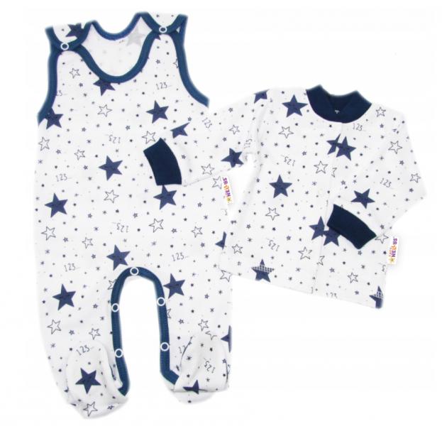 Baby Nellys 2 - dielna sada, bavlnené dupačky s košieľkou Galaxia, biela/granát, veľ. 68