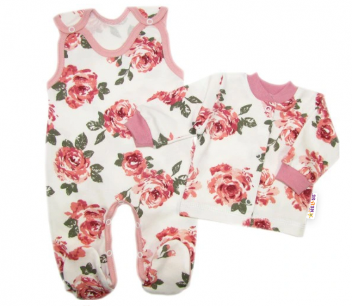 Baby Nellys 2 - dielna sada, bavlnené dupačky s košieľkou Ruže, pudrová/ecru-#Velikost koj. oblečení;50 (0-1m)