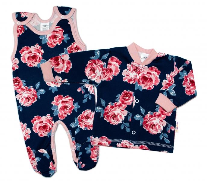 Baby Nellys 2 - dielna sada, bavlnené dupačky s košieľkou Ruže, pudrová/granát, veľ. 68