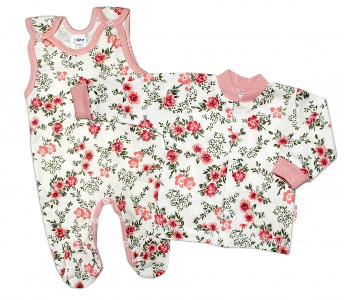 Baby Nellys 2 - dielna sada, bavlnené dupačky s košieľkou Ružičky, pudrová/ecru-#Velikost koj. oblečení;50 (0-1m)