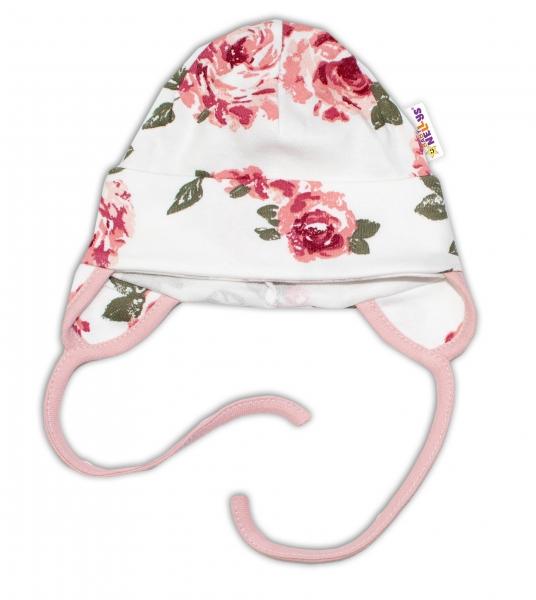 Baby Bavlnená čiapočka s uškami na zaväzovanie - Ruže, pudrová/ecru