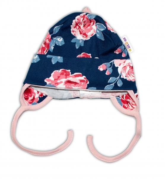 Baby Bavlnená čiapočka s uškami na zaväzovanie - Ruže, pudrová/granát, veľ. 62/68
