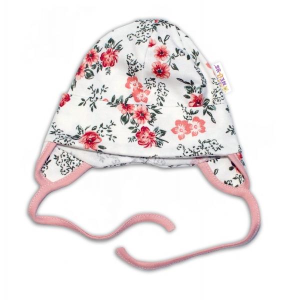 Baby Bavlnená čiapočka s uškami na zaväzovanie - Ružičky, pudrová/ecru, veľ. 62/68
