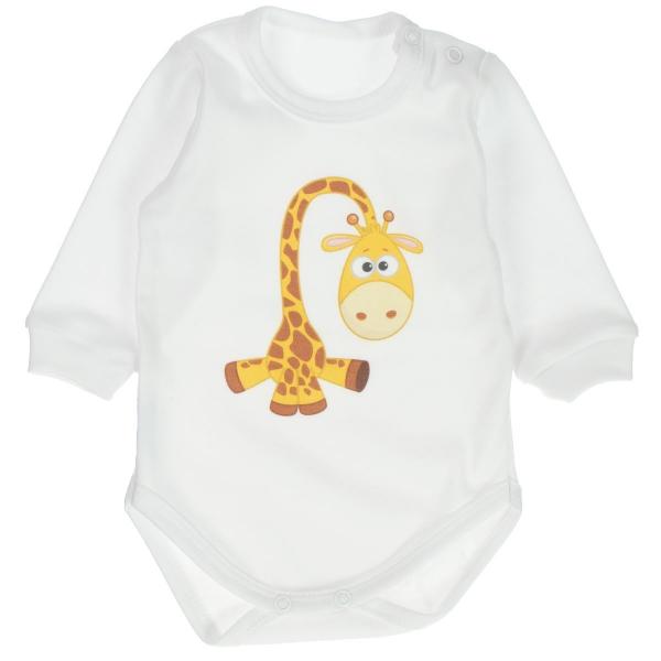 MBaby Bavlnené body s dlhým rukávom Žirafka - biele, vel. 86-#Velikost koj. oblečení;86 (12-18m)