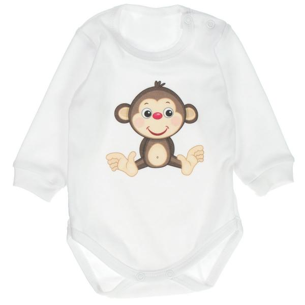 kojenecké bavlnené body s dlhým rukávom Opička - biele, vel. 80