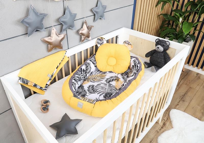 Baby Nellys Sada komplet obojstranné hniezdočko Vafel, 60 x 90 cm - Listy, žltá