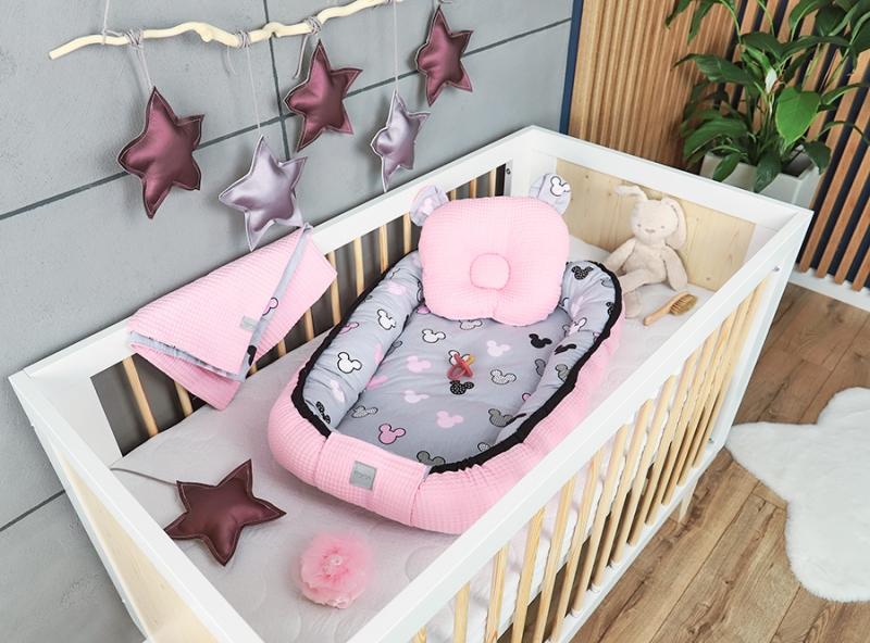 Baby Nellys Sada komplet obojstranné hniezdočko Vafel, 60 x 90 cm - Mickey, růžová, šedá