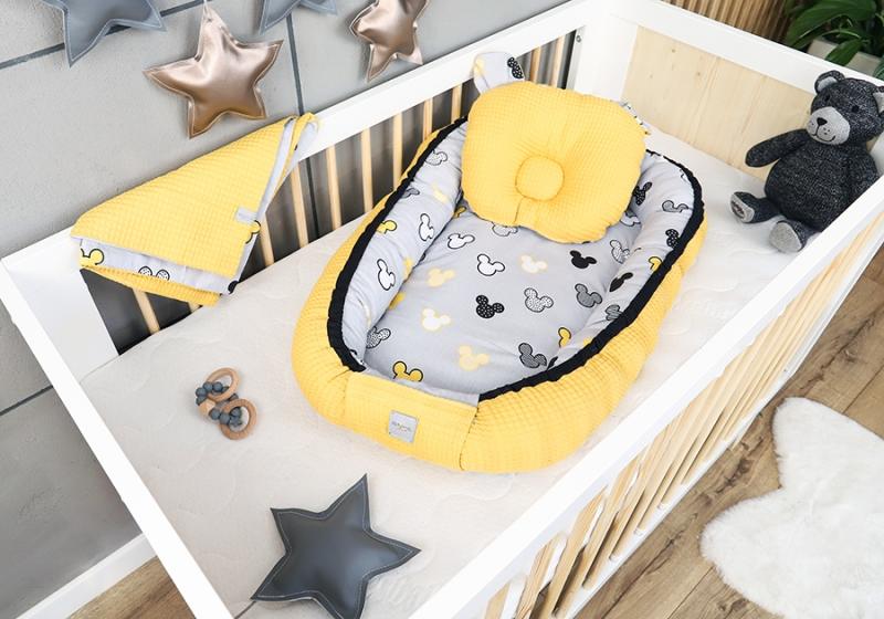 Baby Nellys Sada komplet obojstranné hniezdočko Vafel, 60 x 90 cm - Mickey, žltá, šedá