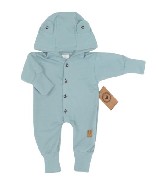 Detský teplákový overal s gombíkmi a kapucňou, morská modrá, veľ. 68