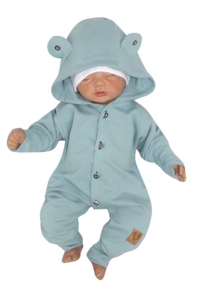 Detský teplákový overal s gombíkmi a kapucňou, morská modrá, veľ. 74