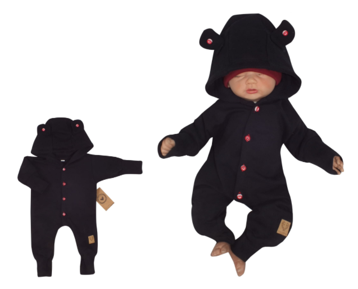 Detský teplákový overal s gombíkmi a kapucňou, čierný, veľ. 62