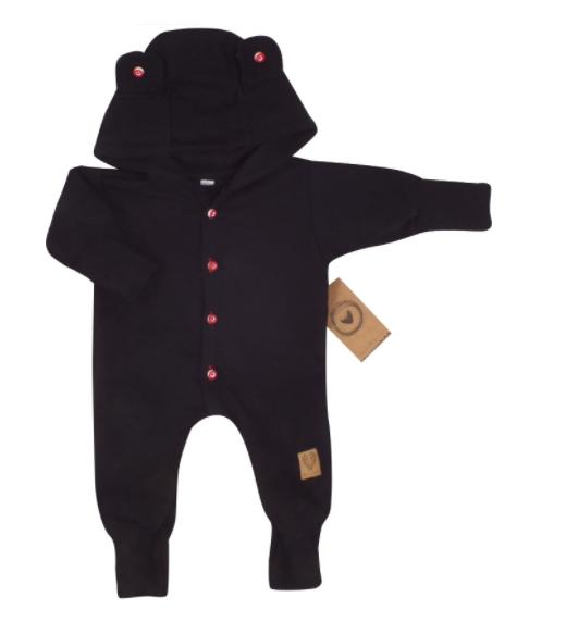 Detský teplákový overal s gombíkmi a kapucňou, čierný, veľ. 68