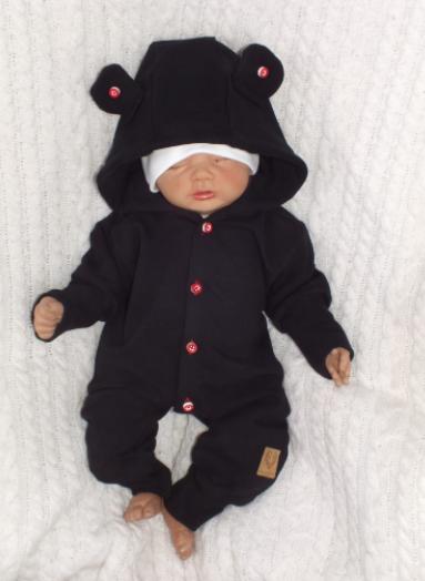 Detský teplákový overal s gombíkmi a kapucňou, čierný, veľ. 74