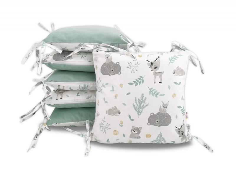 Vankúšikový mantinel Baby Nellys, New Forest Friends, velvet + bavlna - mátová