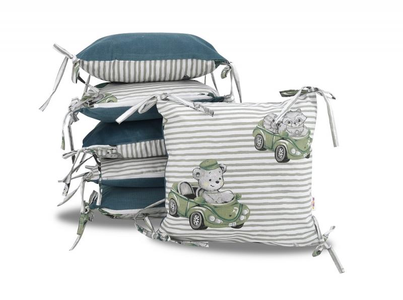 Vankúšikový mantinel Baby Nellys, Baby Car, velvet + bavlna - zelená