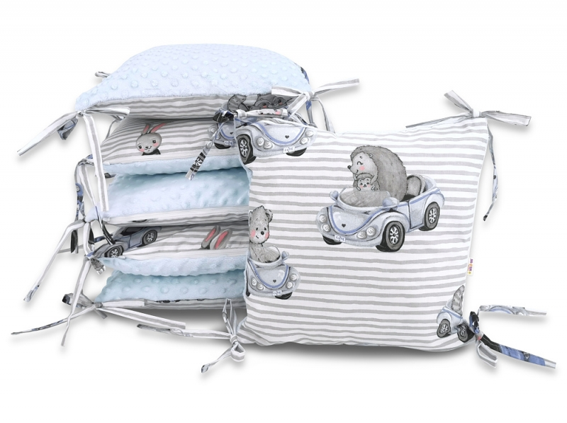 Baby Nellys Vankúšikový mantinel Baby Nellys, Baby Car, minky - sv. modrá