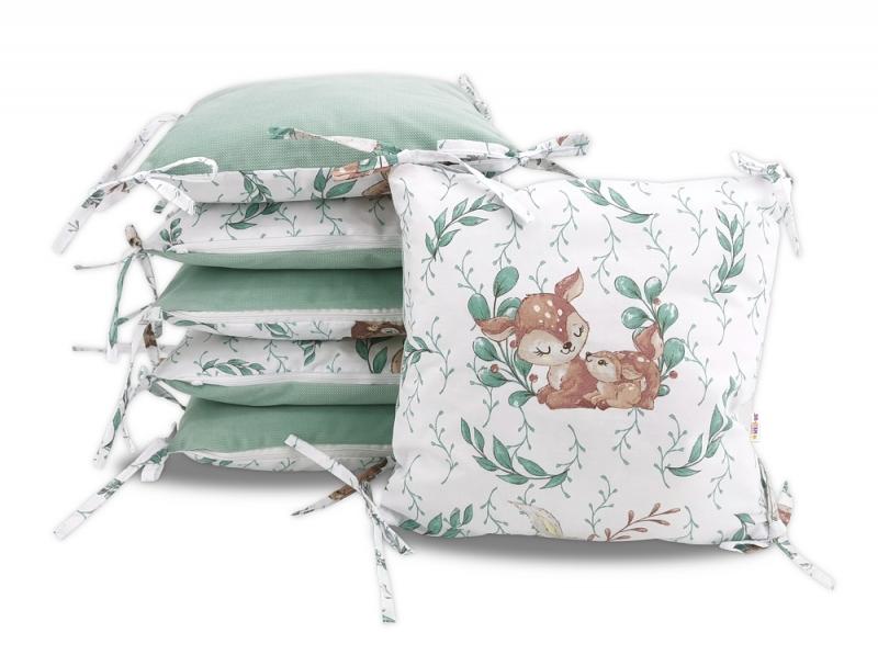 Vankúšikový mantinel Baby Nellys, LULU natural, velvet + bavlna - mátová