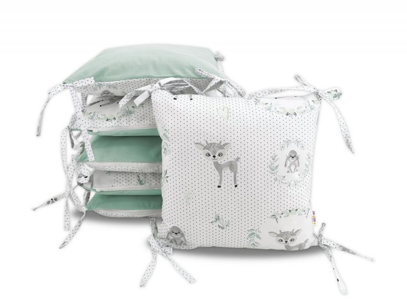 Vankúšikový mantinel Baby Nellys, Koloušek, velvet + bavlna - sivá, mátová