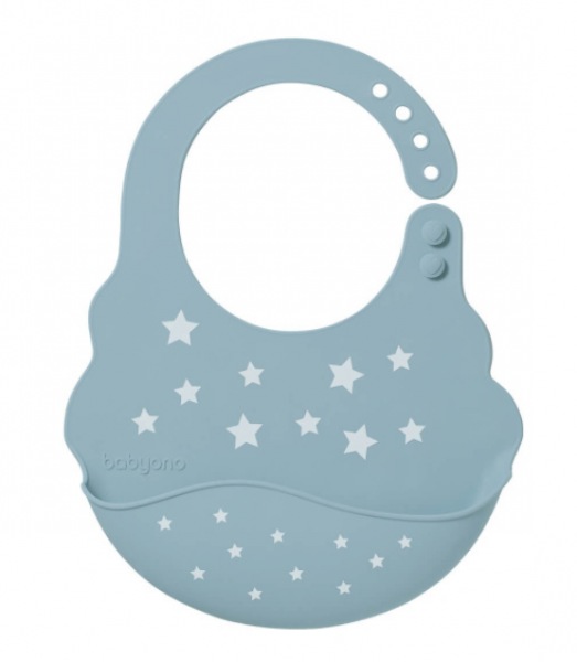 BabyOno Podbradník silikónový - Hvězdičky, modrý, 6 m+