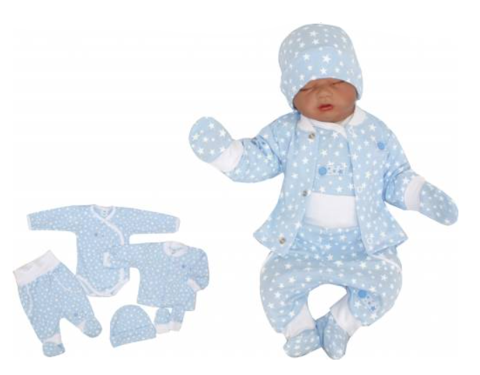 5-dielna súpravička do pôrodnice Hviezdička, modrá, veľ. 62-#Velikost koj. oblečení;62 (2-3m)