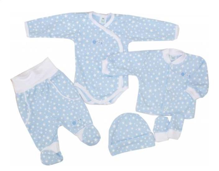 Kojenecká 5-dielna súprava do pôrodnice Hviezdička, modrá, veľ. 62