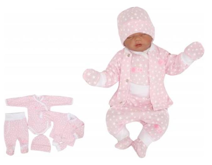 5-dielna súpravička do pôrodnice Hviezdička, ružová-#Velikost koj. oblečení;50 (0-1m)