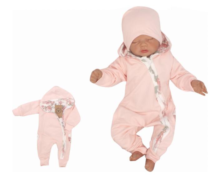 Z & Z Detský teplákový dvojvrstvový overal s kapucňou, Kvety, ružový-#Velikost koj. oblečení;56 (1-2m)