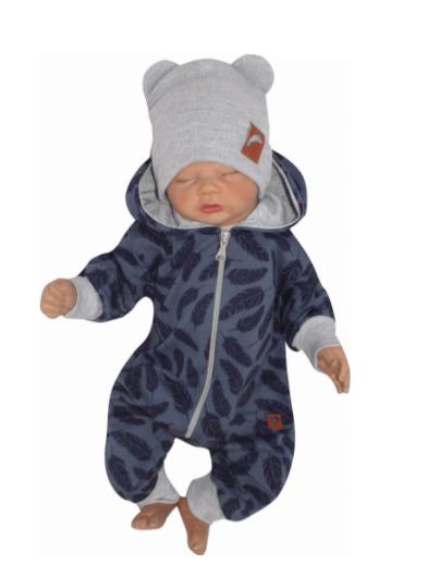 Detský teplákový overal s kapucňou, Pierka, modrý, veľ. 68